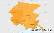 Political Shades Simple Map of Friuli-Venezia Giulia, single color outside