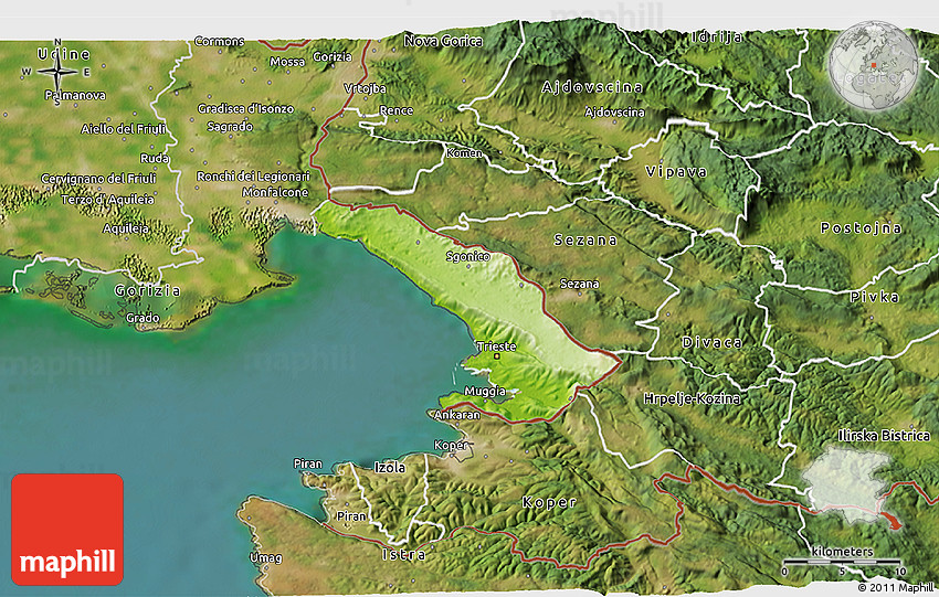Physical D Map Of Trieste Satellite Outside - Trieste map