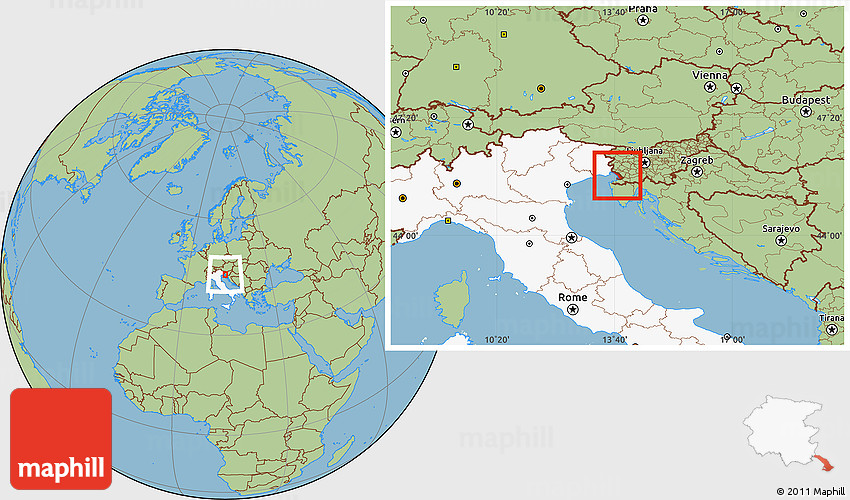Savanna Style Location Map of Trieste highlighted country