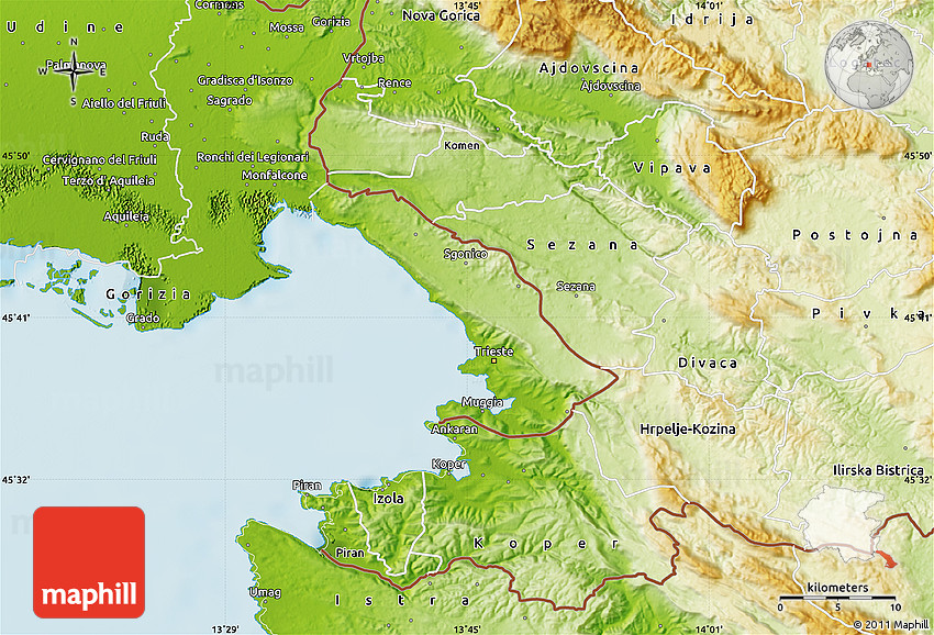 Physical Map Of Trieste - Trieste map