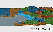 Political Panoramic Map of Trieste, darken