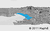 Political Panoramic Map of Trieste, desaturated