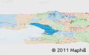 Political Panoramic Map of Trieste, lighten