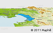 Political Panoramic Map of Trieste, physical outside