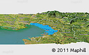 Political Panoramic Map of Trieste, satellite outside