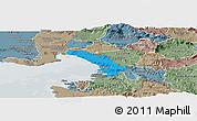Political Panoramic Map of Trieste, semi-desaturated