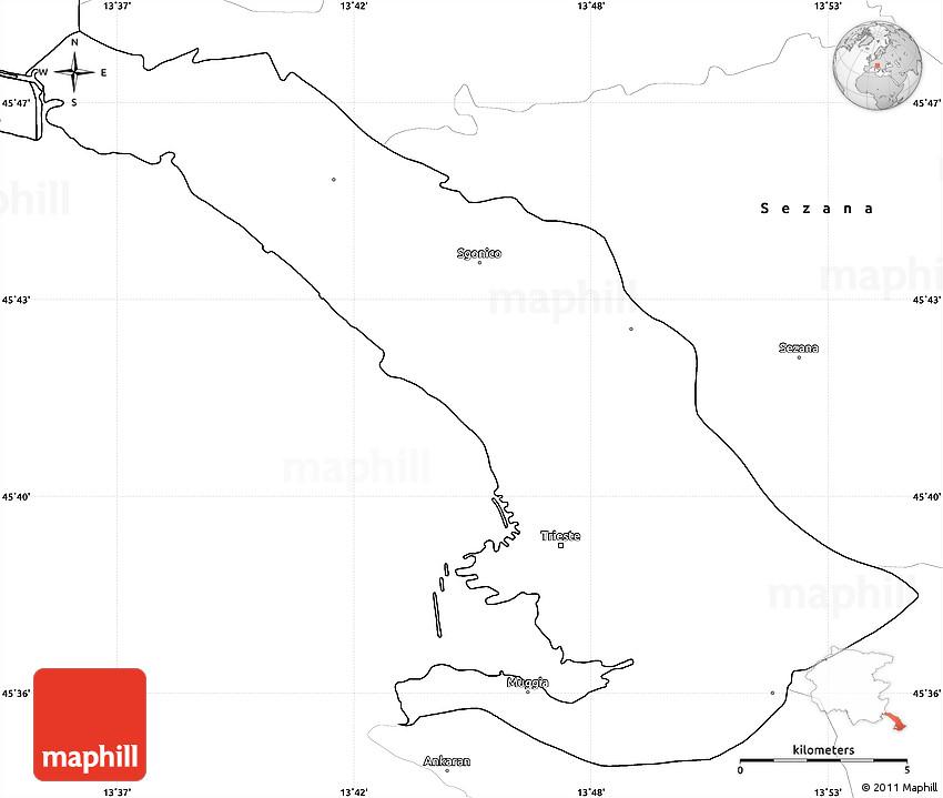 Blank Simple Map of Trieste