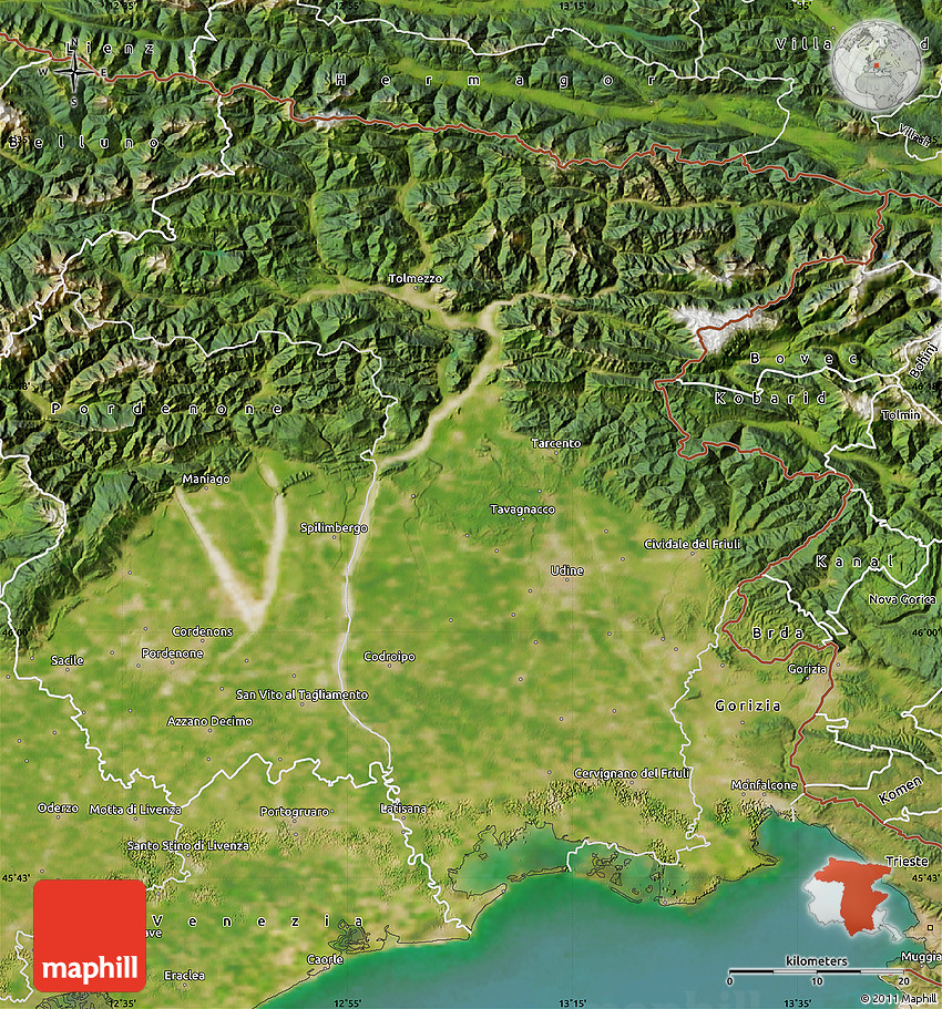 Satellite Map Of Udine - Udine map