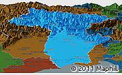Political Panoramic Map of Udine, darken