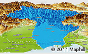 Political Panoramic Map of Udine, physical outside