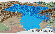 Political Panoramic Map of Udine, semi-desaturated