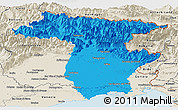 Political Panoramic Map of Udine, shaded relief outside