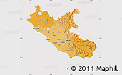 Political Shades Map of Lazio, cropped outside
