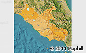 Political Shades Map of Lazio, satellite outside