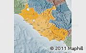 Political Shades Map of Lazio, semi-desaturated