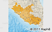 Political Shades Map of Lazio, shaded relief outside