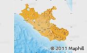 Political Shades Map of Lazio, single color outside