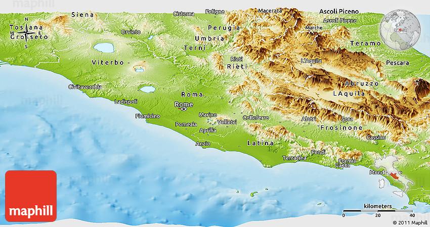 Physical Panoramic Map of Lazio