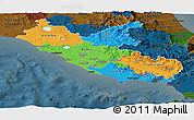 Political Panoramic Map of Lazio, darken