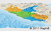 Political Panoramic Map of Lazio, shaded relief outside