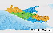 Political Panoramic Map of Lazio, single color outside