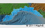 Political Shades 3D Map of Liguria, darken