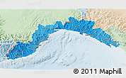 Political Shades 3D Map of Liguria, lighten