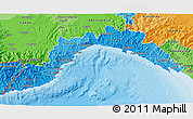 Political Shades 3D Map of Liguria