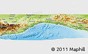Physical Panoramic Map of Liguria
