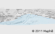 Silver Style Panoramic Map of Liguria