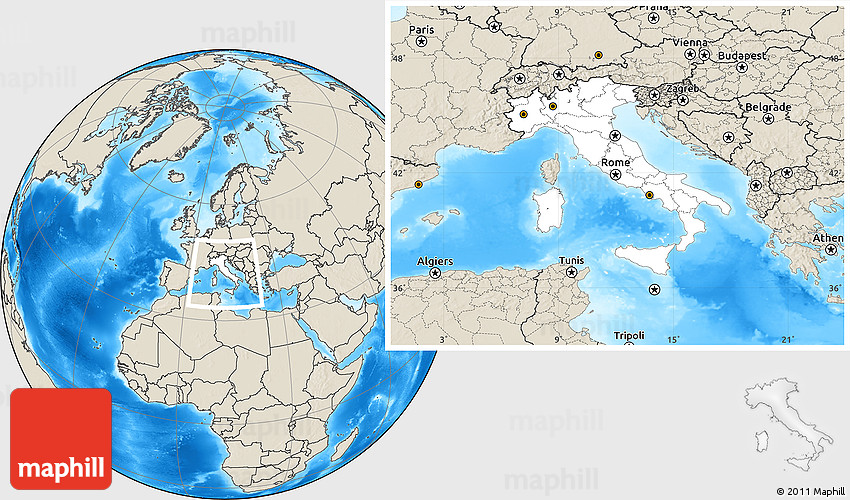 Blank location map of italy shaded relief outside gumiabroncs Images