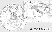 Gray Location Map of Italy, blank outside