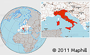 Gray Location Map of Italy, highlighted continent