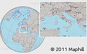 Gray Location Map of Italy, hill shading inside