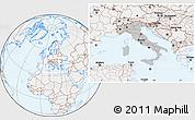 Gray Location Map of Italy, lighten