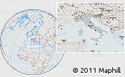 Gray Location Map of Italy, lighten, semi-desaturated