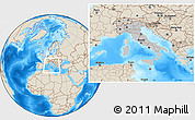 Gray Location Map of Italy, shaded relief outside