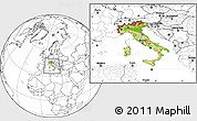 Physical Location Map of Italy, blank outside