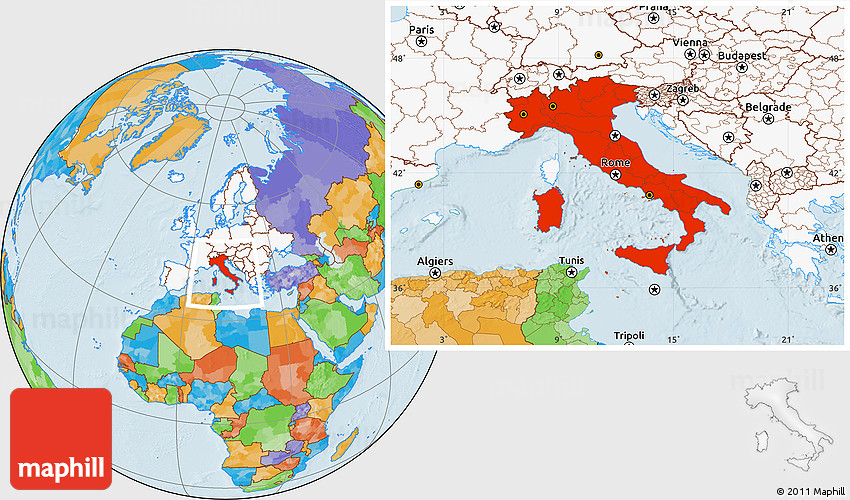 Political location map of italy highlighted continent gumiabroncs Images