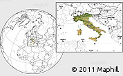 Satellite Location Map of Italy, blank outside