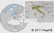 Satellite Location Map of Italy, lighten, desaturated