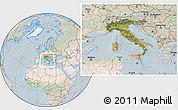 Satellite Location Map of Italy, lighten