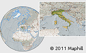 Satellite Location Map of Italy, lighten, semi-desaturated