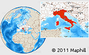 Shaded Relief Location Map of Italy, highlighted continent