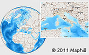 Shaded Relief Location Map of Italy, lighten, land only