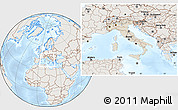 Shaded Relief Location Map of Italy, lighten