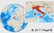 Shaded Relief Location Map of Italy