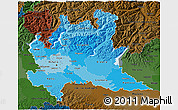 Political Shades 3D Map of Lombardia, darken