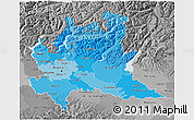 Political Shades 3D Map of Lombardia, desaturated