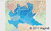 Political Shades 3D Map of Lombardia, lighten
